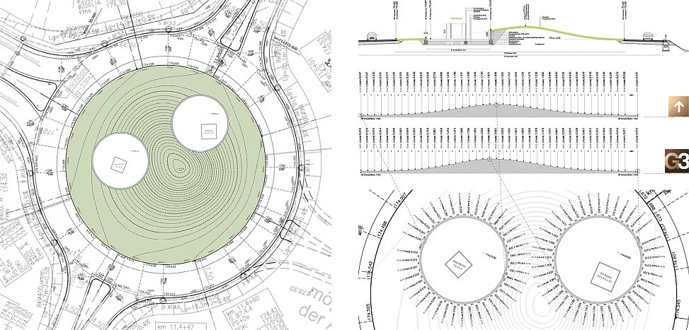 design | ground plan and sections