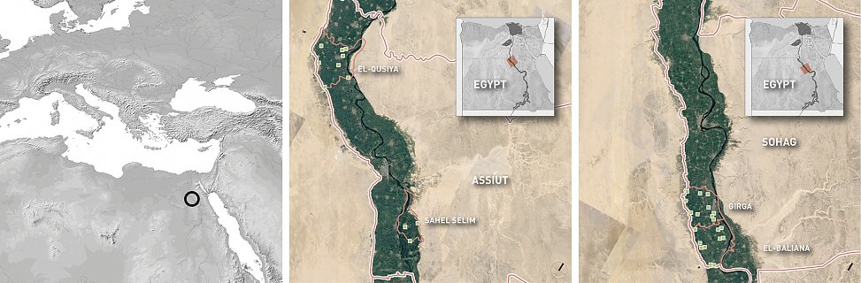 site overview lot 1 | maps and aerial photos of assiut (left) and sohag (right)