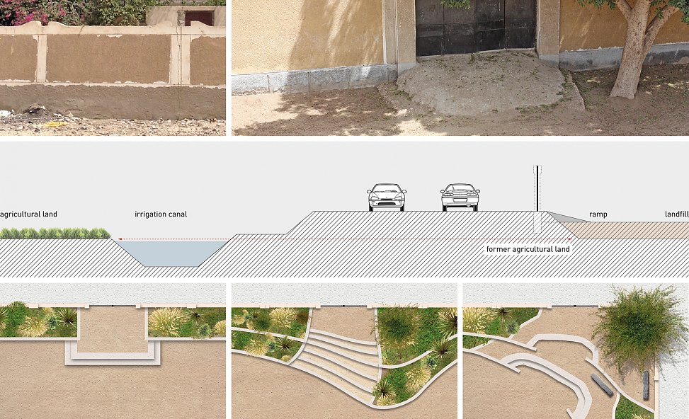 stepped entrances working with the terrain | photos & section of standard situation and illustrated ground plans