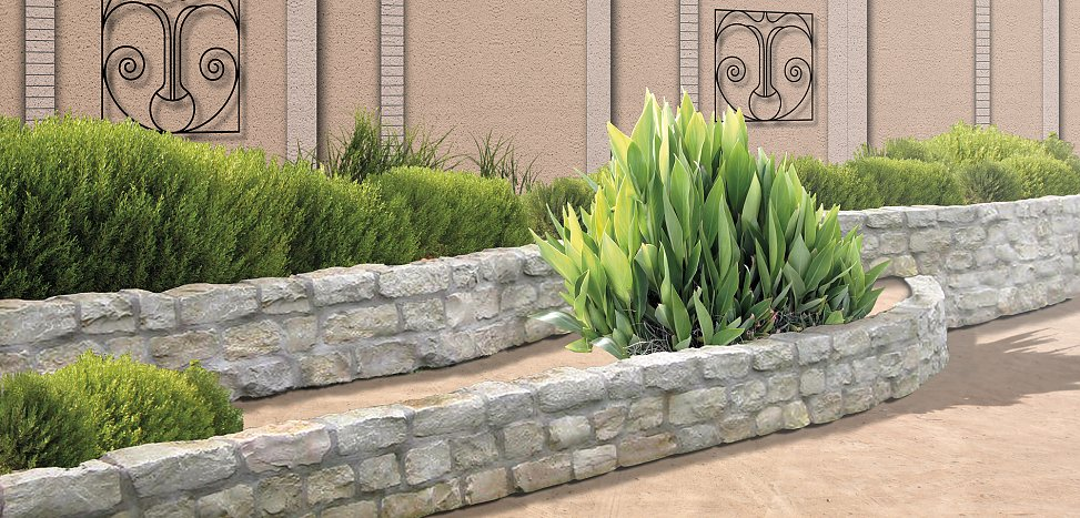 terraced plant beds covering exposed wall foundations | visualization