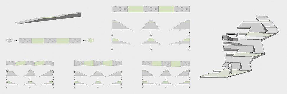 conceptual studies on the perception of ramped paths | diagrams and 3D models